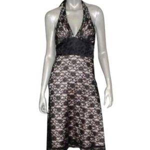 WHBM Black/Champagne Lace Halter Dress ( 4 )